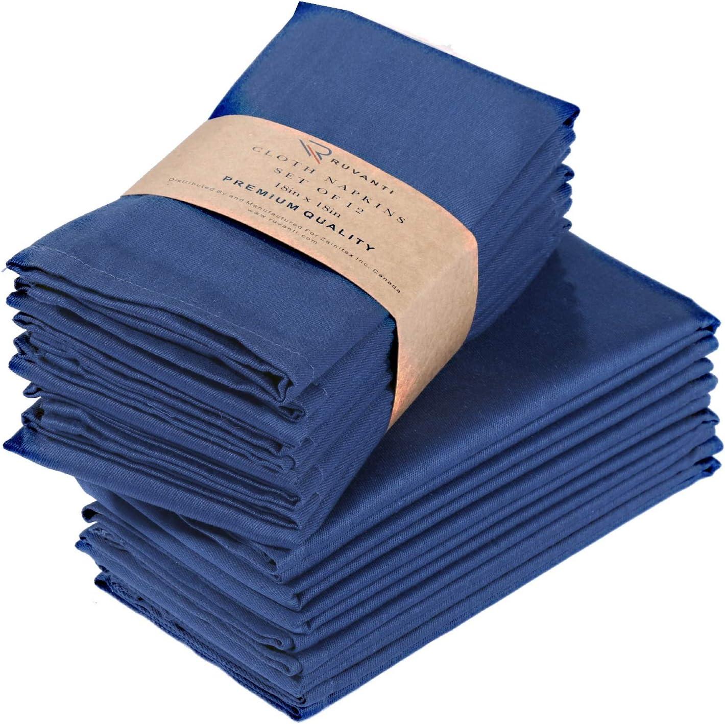 "Ruvanti Cotton Dinner Napkins 12 Pack (18"" X18""), Cloth Napkins Soft and Comfortable Reusable Napkins - Durable Linen Napkins - Perfect Table Napkins/Navy Blue Napkins for Family Dinners, Weddings."