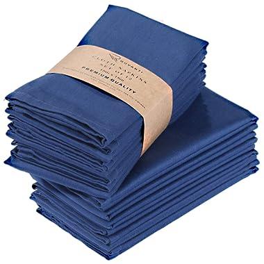 Ruvanti Cotton Dinner Napkins 12 Pack (18  X18 ), Cloth Napkins Soft and Comfortable Reusable Napkins - Durable Linen Napkins - Perfect Table Napkins/Navy Blue Napkins for Family Dinners, Weddings.