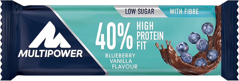Multipower 40% Protein Fit Bar, Sabor Blueberry Vanilla - 24 Barras
