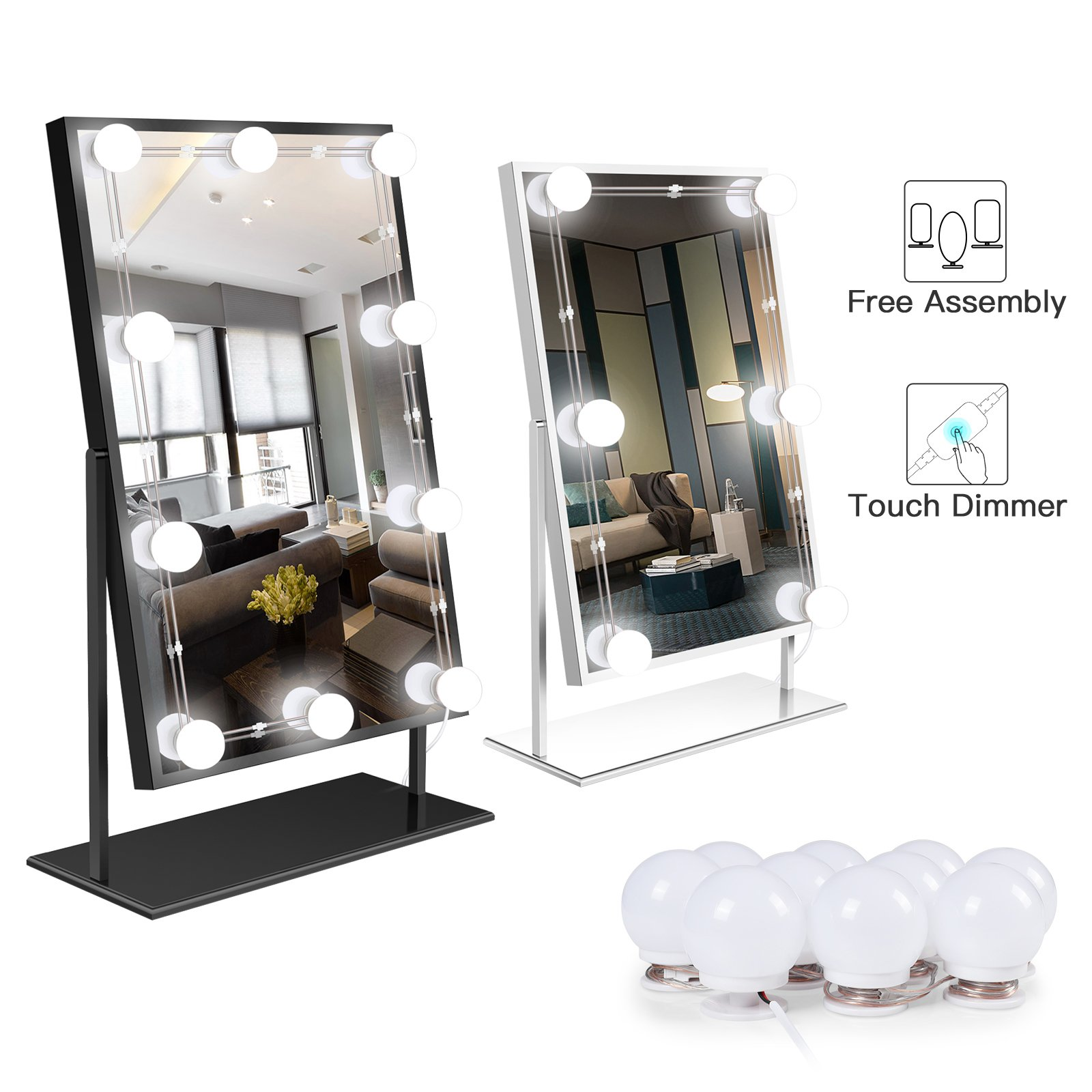 Hollywood Style LED Vanity Mirror Light with Smart Touch Dimmer for Makeup Vanity Table, Dressing Room Bedroom, Bathroom(Mirror Not Include)