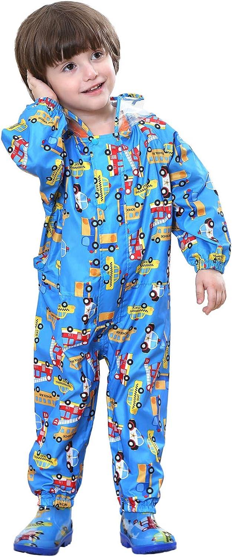 Vmonyco Kids-Raincoat Toddler-Rainsuit One-Piece Rainwear Girls Waterproof Lightweight Rain Coats//Jacket Boys