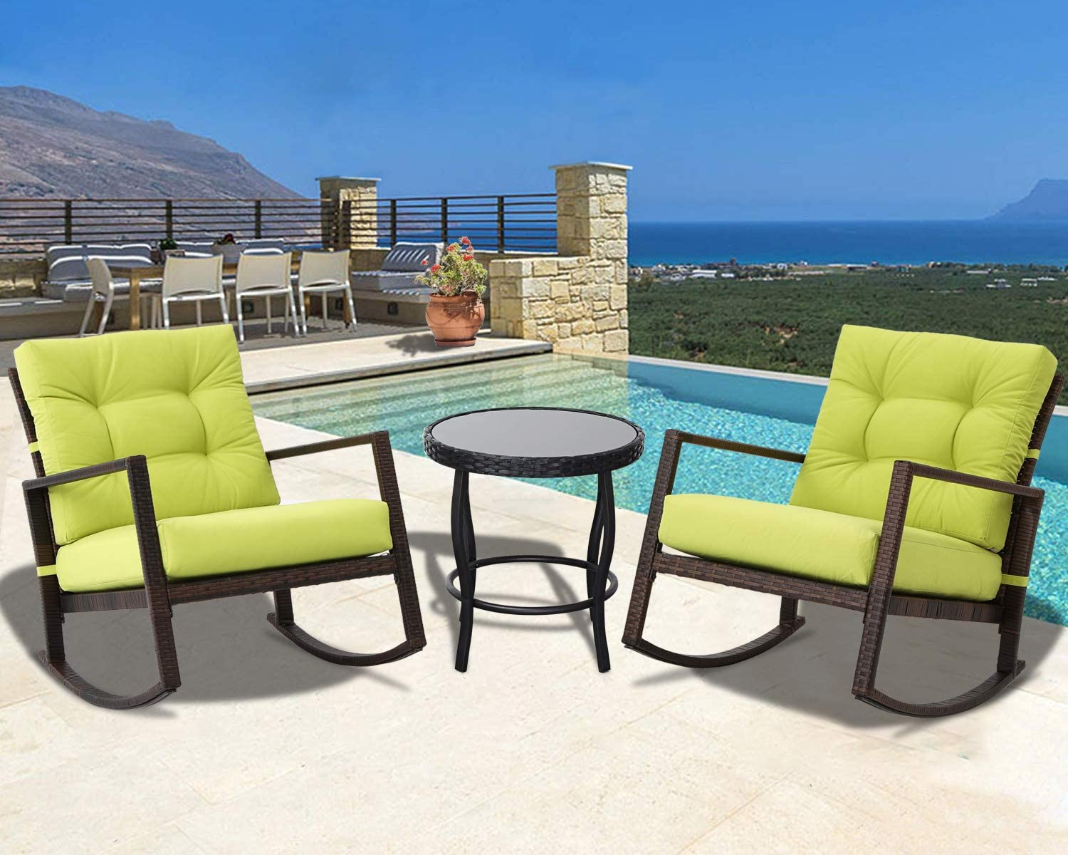 Oakmont Patio Furniture 3-Piece Rocking Wicker Bistro Set, Smooth Gliding Rocker Armchair with Glass Coffee Table Green Cushions