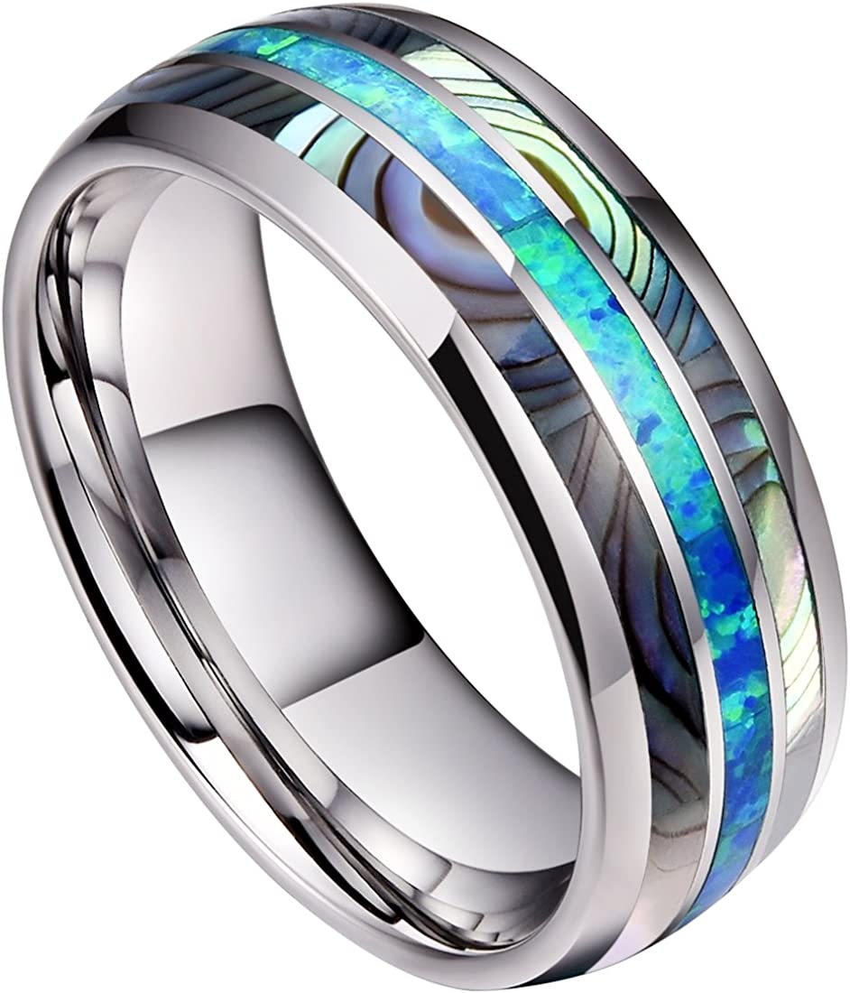 NUNCAD Mens 8mm Tungsten Carbide Ring Real Blue//Green Opal and Abalone Shell Wedding Engagement Ring Band Size 5 to 15