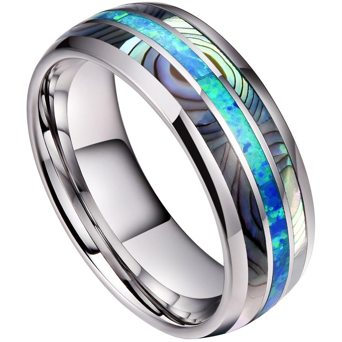 DOUX 8mm Mens Tungsten Carbide Ring Real Blue Opal & Abalone Shell Inlay Wedding Band High Polished