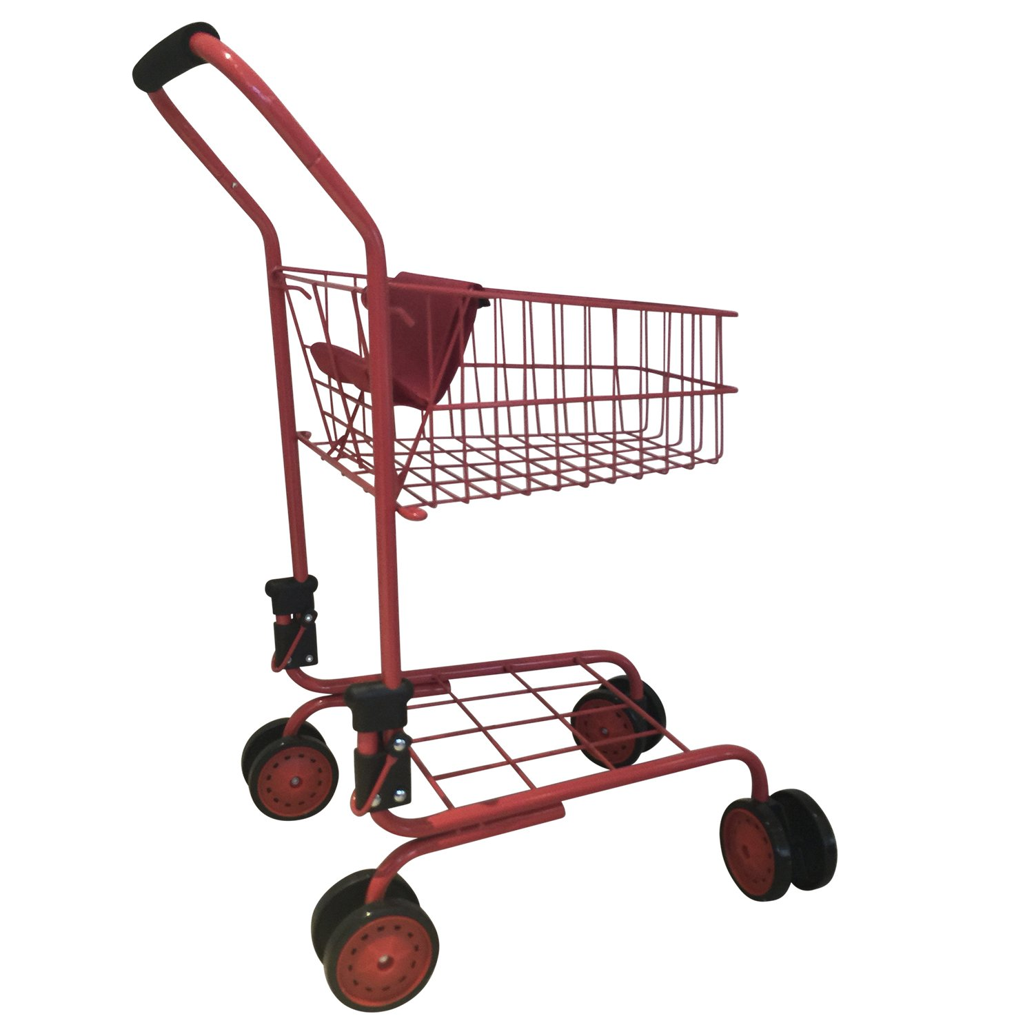 Toy Shopping Cart for Kids and Toddler - Includes Food - Folds for Easy Storage Metal Frame by The New York Doll Collection