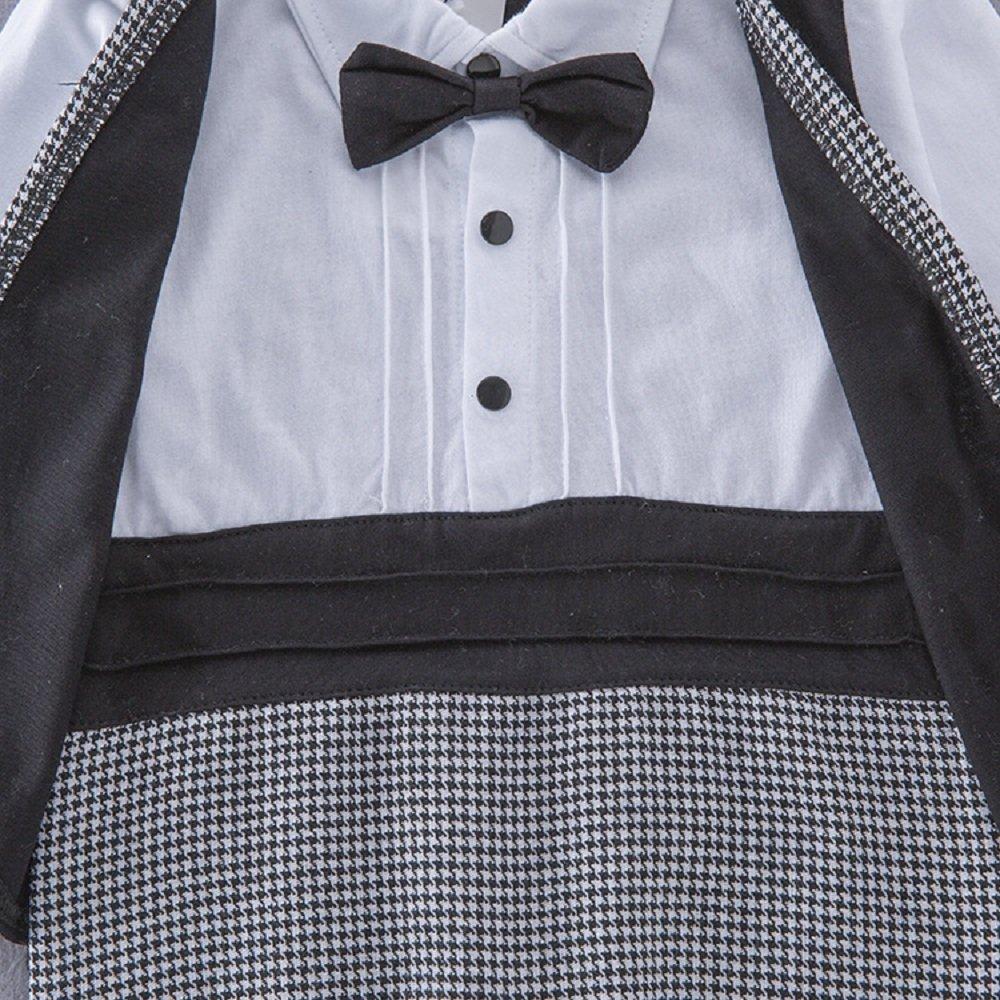 Hooyi Baby Boy Black/&White Gentleman Long Sleeve Tuxedo Suit Bow Tie Jumpsuit