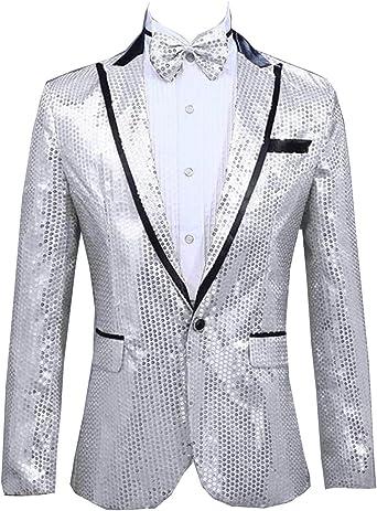 Heless Mens One-Button Casual Business Print Slim Notched Lapel Suit Blazer Jacket Coat