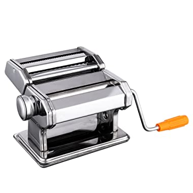 Pasta Maker Machine,Hand Crank Noodle Maker Stainless Steel Noodles Cutter with Clamp for Spaghetti Lasagna Tagliatelle