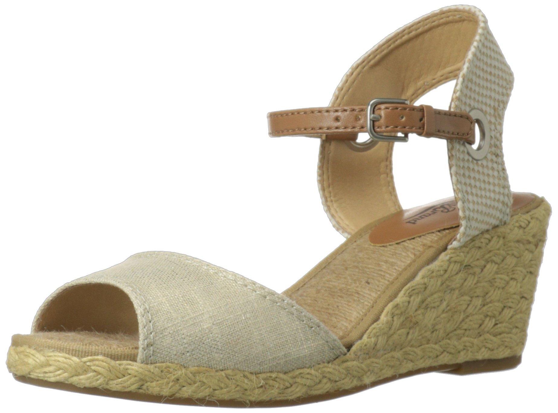 Lucky Brand Women's Kyndra Wedge Sandal,Natural/Platinum Metallic,8.5 M US