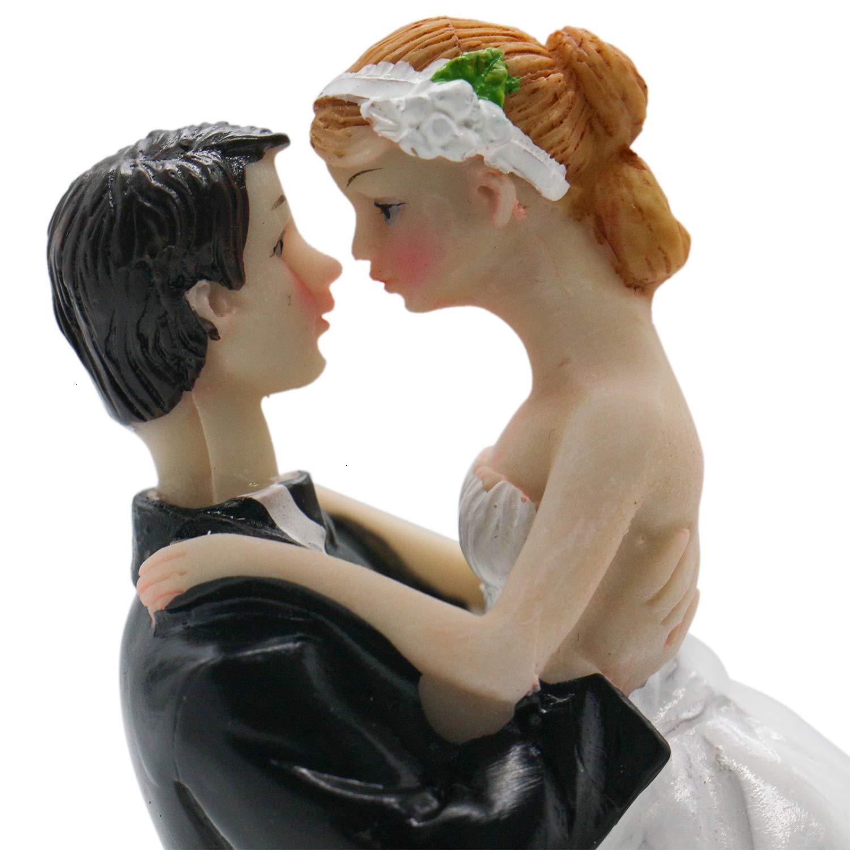HUELE Wedding Cake Topper Rein Bride and Groom Cake Decoration for Wedding Bridal Shower