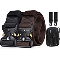 BESTKEE Paquete de 2 cinturones tácticos para hombres de 1.5 pulgadas, cinturón resistente, hebilla de metal de nailon…