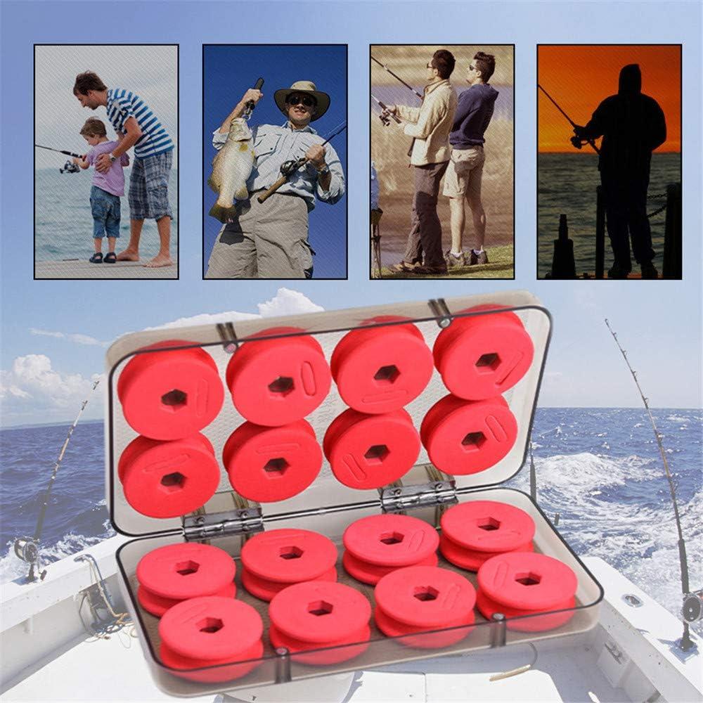 16pcs Kit De Carrete De L/ínea De Pesca De Espuma Tabla De Bobinado De Pesca Accesorios De Alambre Envuelto En Esponja para Almacenamiento De Bobinadoras con Caja De Pl/ástico