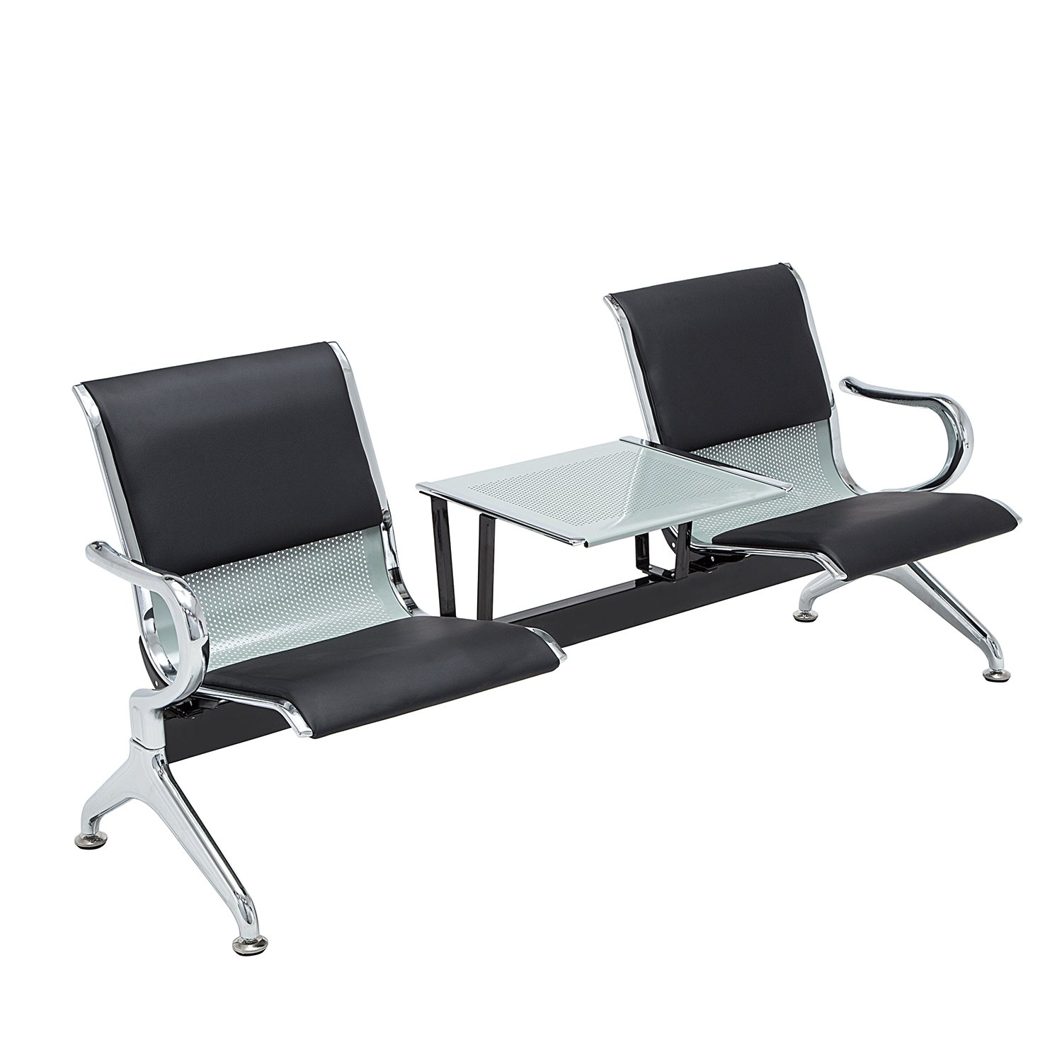 walsport 2-Seat Metal Waiting Room Chair Leather Business Reception Bench Room Garden Salon Barber Bench for Barbershop Salon Airport Bank Hospital Market, Black with Desk