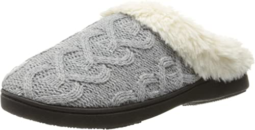Isotoner Wild Rose Cable Knit Clog Slippers for Women Slip On