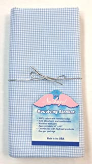 product image for NuAngel Receiving Blanket - 100% Cotton Flannel - Blue Gingham