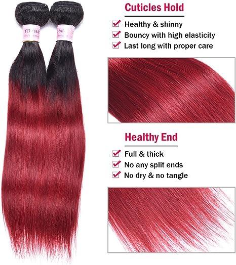 Extensiones de pelo peruano de color borgoña con tejido recto de color negro a rojo, pelo peruano de dos tonos, 4 paquetes en total 200 gramos