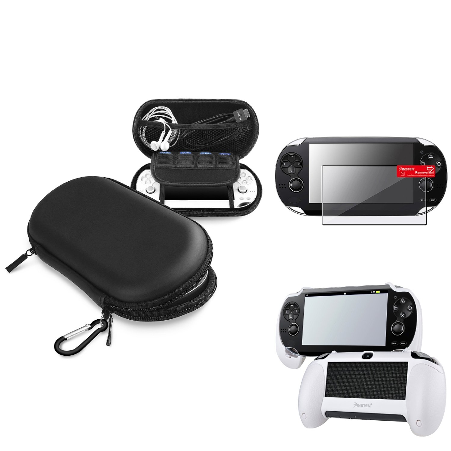 Insten Black EVA Case Cover + White Hand Grip + Clear Screen Protector Compatible With Sony PS Vita PSV by INSTEN