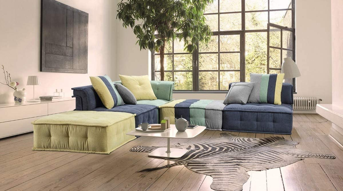 Limari Home Jaffe Collection Modern Style Living Room Cotton Fabric Sectional Sofa, Multicolor