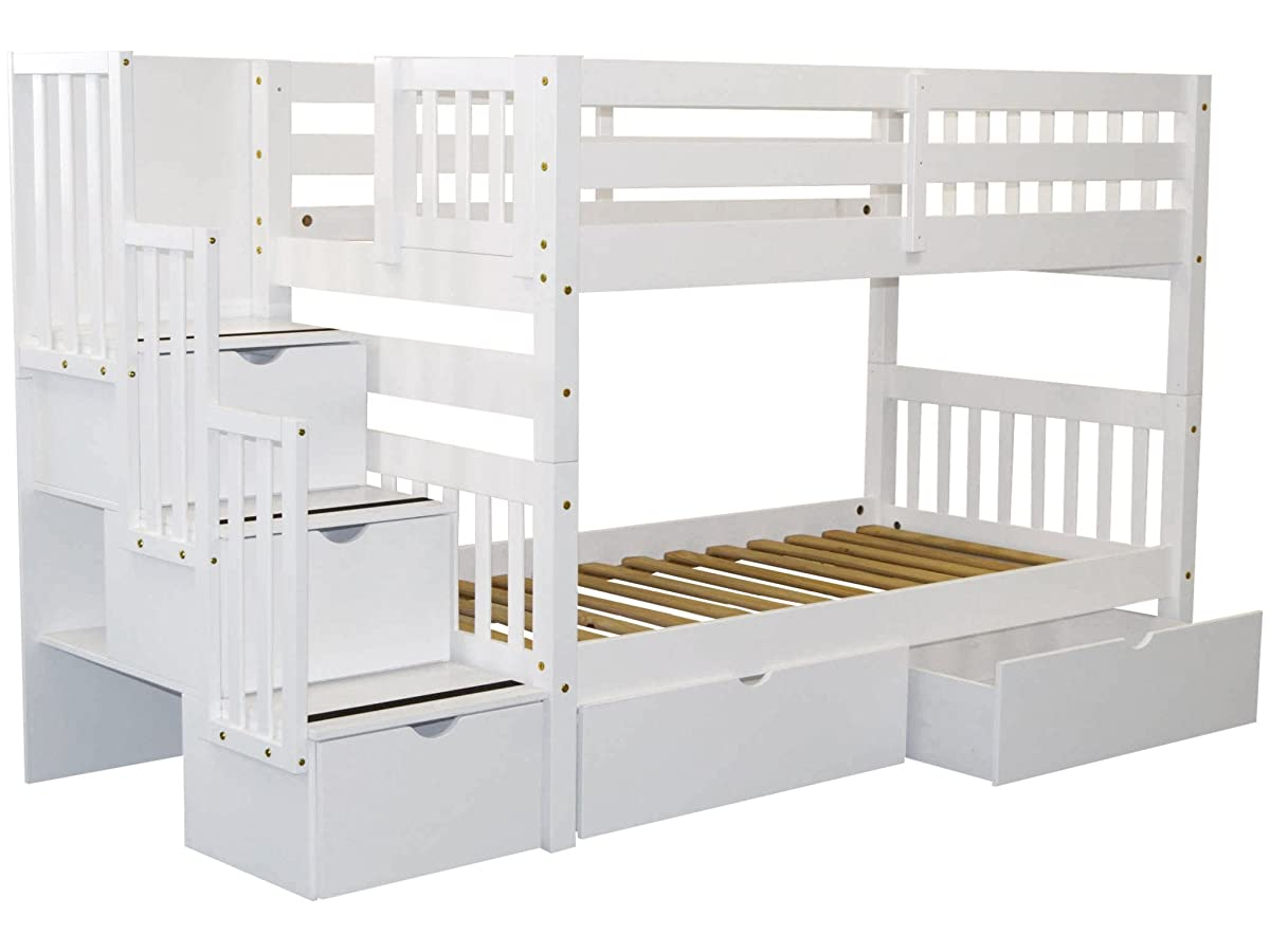Bedz King Stairway Bunk Beds Twin over Twin with 3 Drawers in the Steps and 2 Under Bed Drawers, White