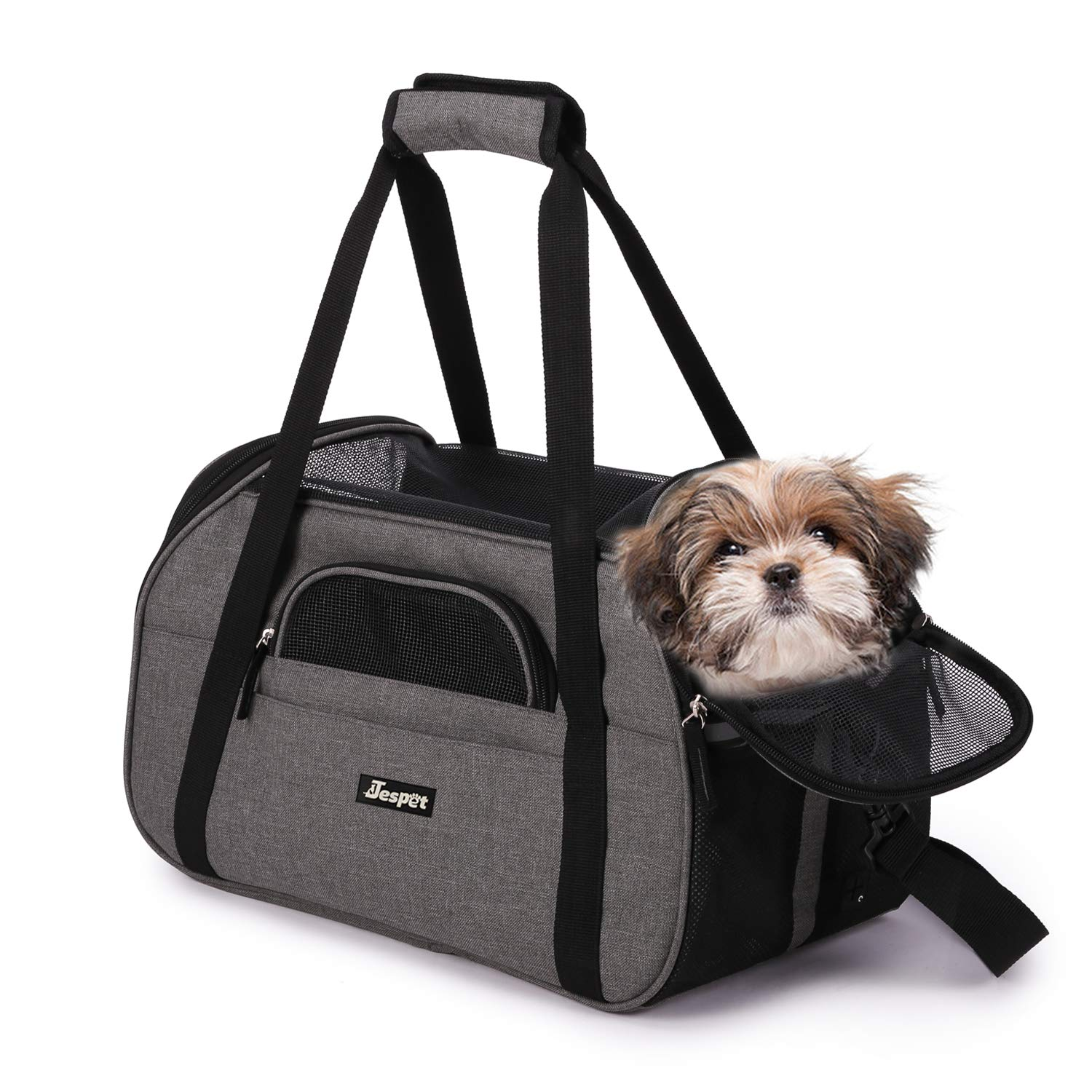 Jespet Soft Pet Carrier for Small Dogs, Cats, Puppy, 17'' Airline Approved Portable Carrier Bag for Airline, Train, Car Travel, Smoke Gray by JESPET