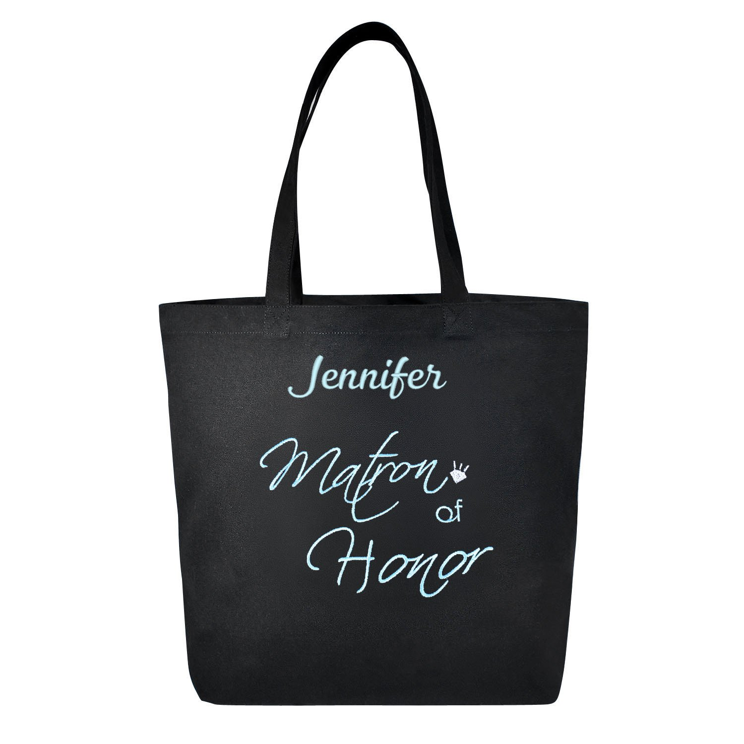 PERSONALIZED Aqua Embroidered Matron of Honor Tote Wedding Gift Black Shoulder Bag 100% Cotton