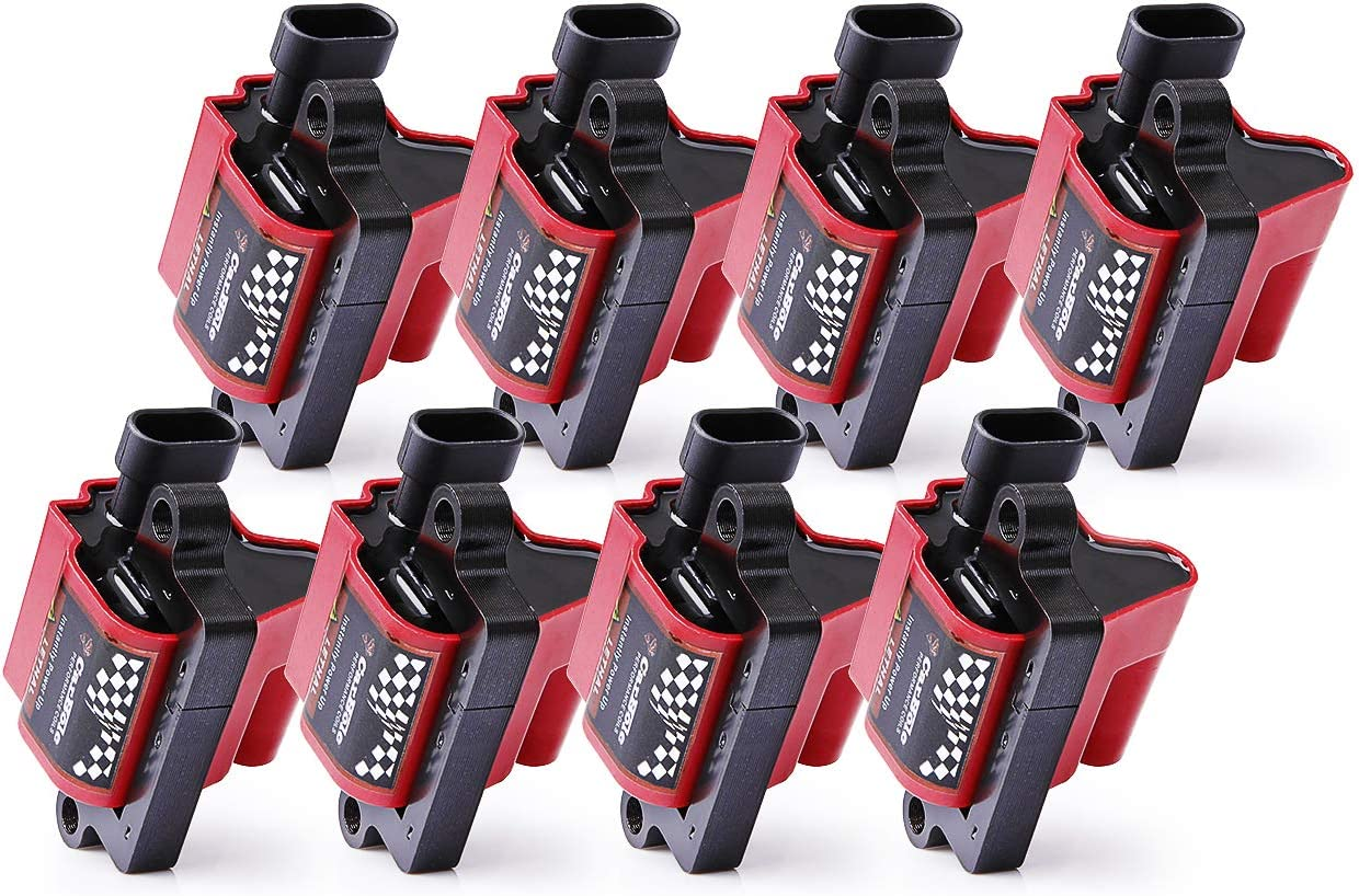8 Pcs D585 Coil Packs ROUND TYPE Restore Performance Ignition Coils Fit for Chevy GMC Buick Hummer Isuzu Cadillac 4.8L 5.3L 6.0L 8.1L V8 Compatible UF262 C1251 10457730,Red