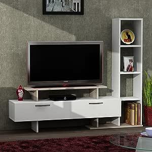 طاولة تلفزيون مع ادراج , خشب , متعددة الالوان