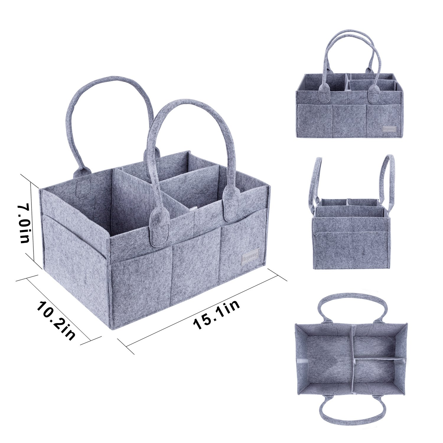 Heyoung Baby Diaper Caddy Foldable Portable Nursery Organizer Storage Bin Felt Basket Tote Bag for Diapers Grey Baby Wipes DC-01-1 Changing Table Home Organization