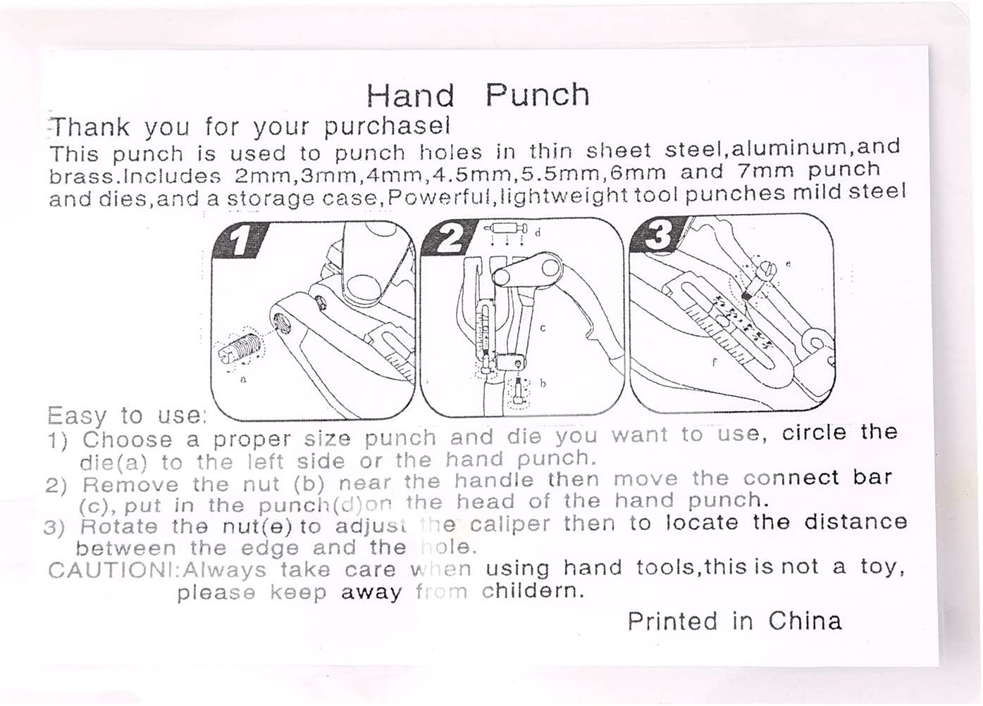 Hand Held Power Punch Sheet Metal Hole Punch Kit Compound Leverage