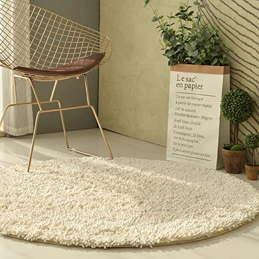 ZJK Rug Round Rug Padded Bedroom Bed Headboard Washable, Machine Washable, Multiple Sizes A Color White, Size 200cm 79inch