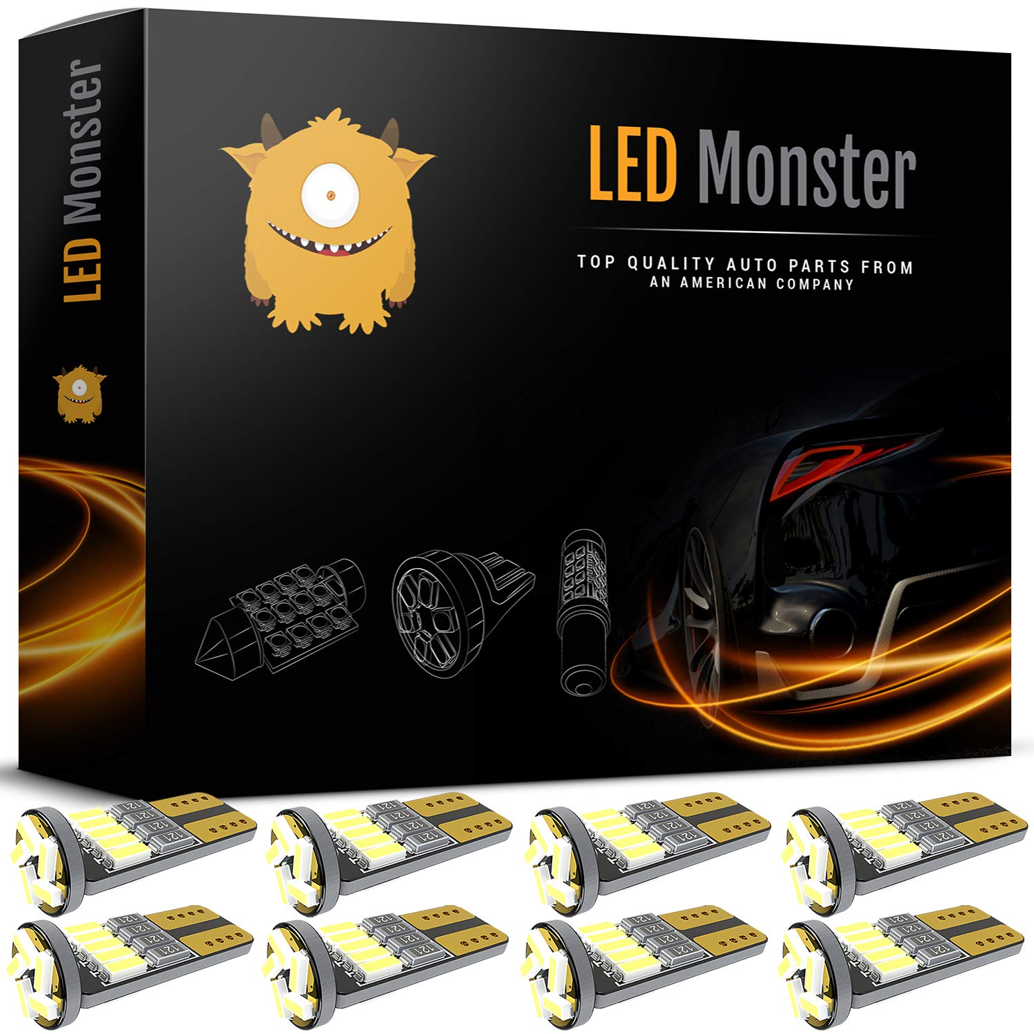 LED Monster 8pcs T10 Wedge Best Value Super Bright High Power 3014 15-SMD 194 168 2825 W5W White LED Bulb Lamp for Car Truck Interior Dome Map Door Courtesy License Plate Lights by LED Monster
