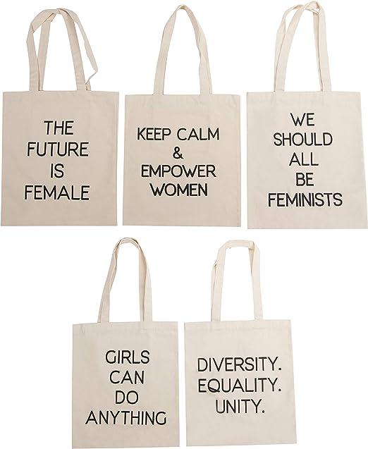 Bolsas de lona – 5 unidades de varios diseños de citas de texto femenino, lienzo de algodón
