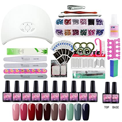 Saint-Acior 36W UV/LED Lámpara Secador de Uñas 10pcs 8ml Esmaltes Semipermanente Gel