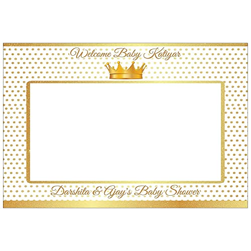 Little Prince Gold Crown Photo Booth Frame Prop 48x36; Personalized Royal Baby Shower Picture Frame Photo Prop Selfie Frame; Handmade party supplies Royal Baby Shower Photobooth prop Sizes 36x24