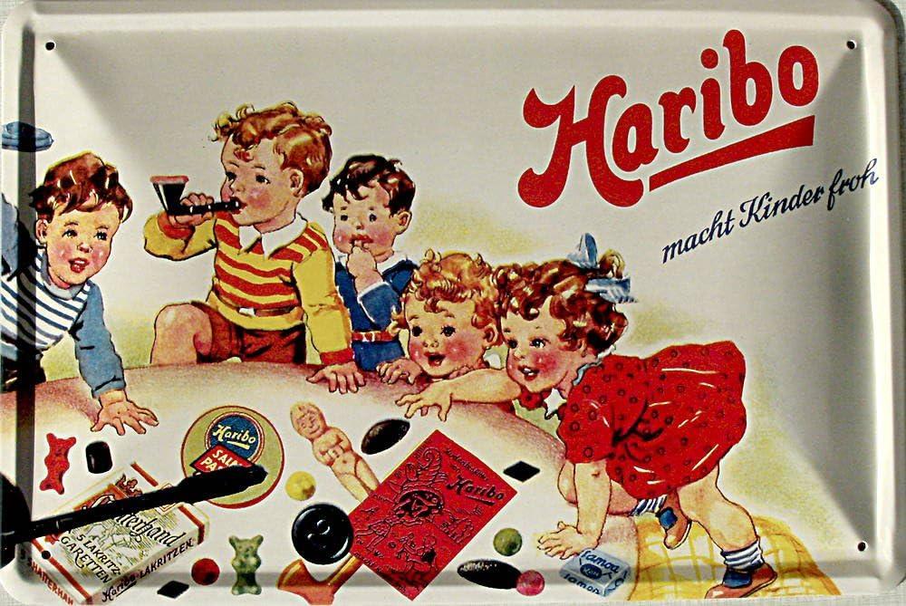 Haribo Rend Les Enfants Heureux Rahmenlos Plaque m/étallique Humoristique avec Inscription en Allemand 20 x 30 cm-Sign blechschilder