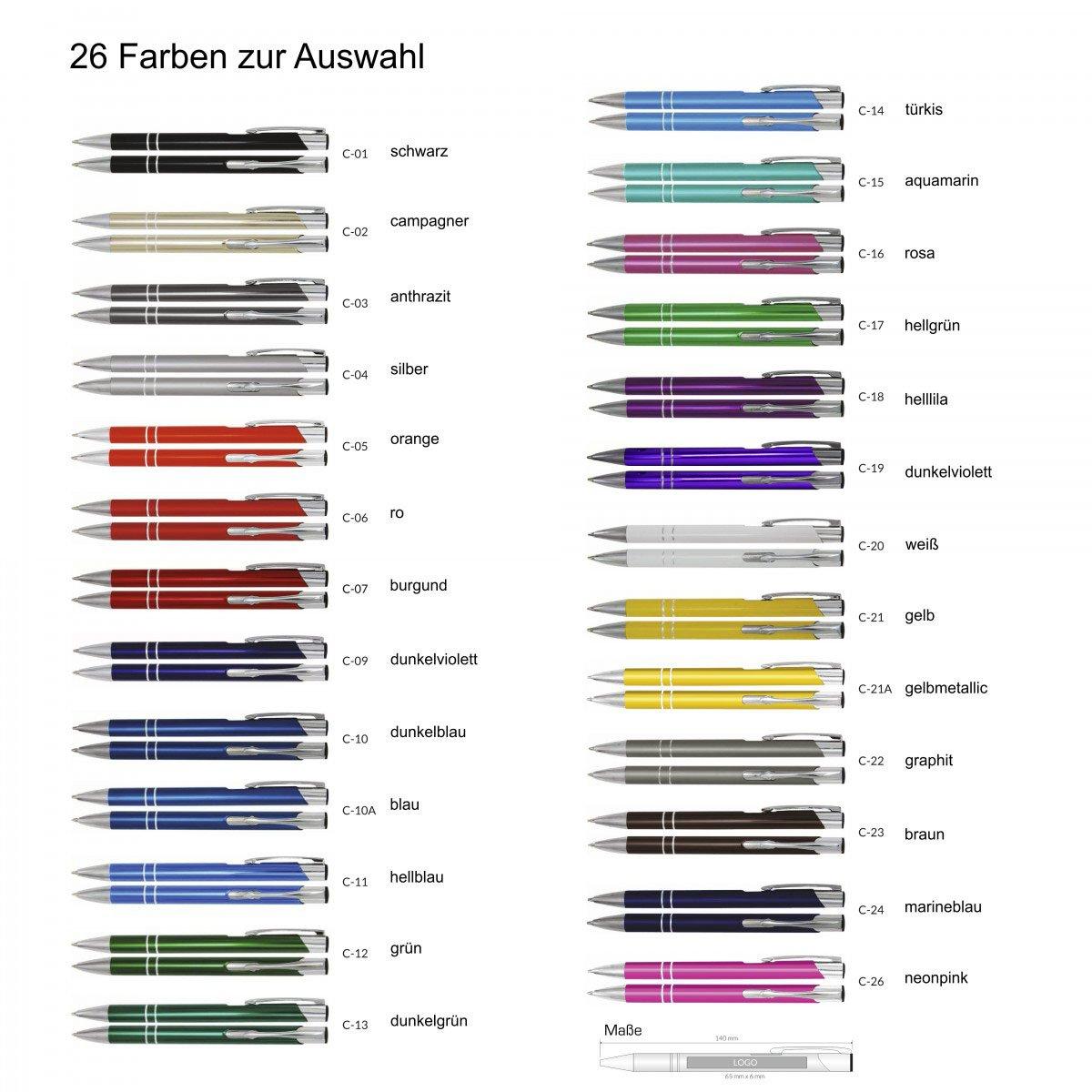 Creativgravur Aluminium Kugelschreiber Cosmo Lasergravur Sortenrein o Gravur 26 Farben Schl/üsselanh/änger Gemischt Einheitl Menge:25 St/ück
