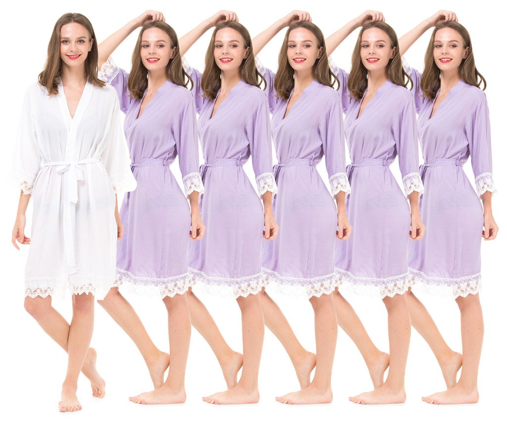 Set of 6 Women's Cotton Robes for Bride and Bridesmaid with Lace Trim