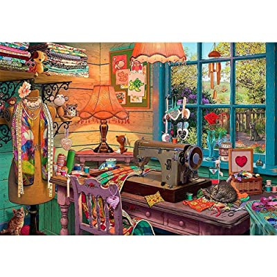 Jigsaw Puzzle 500 Piece Sewing Machine Cut Clothes Kitten Garden Art Paintings: Toys & Games