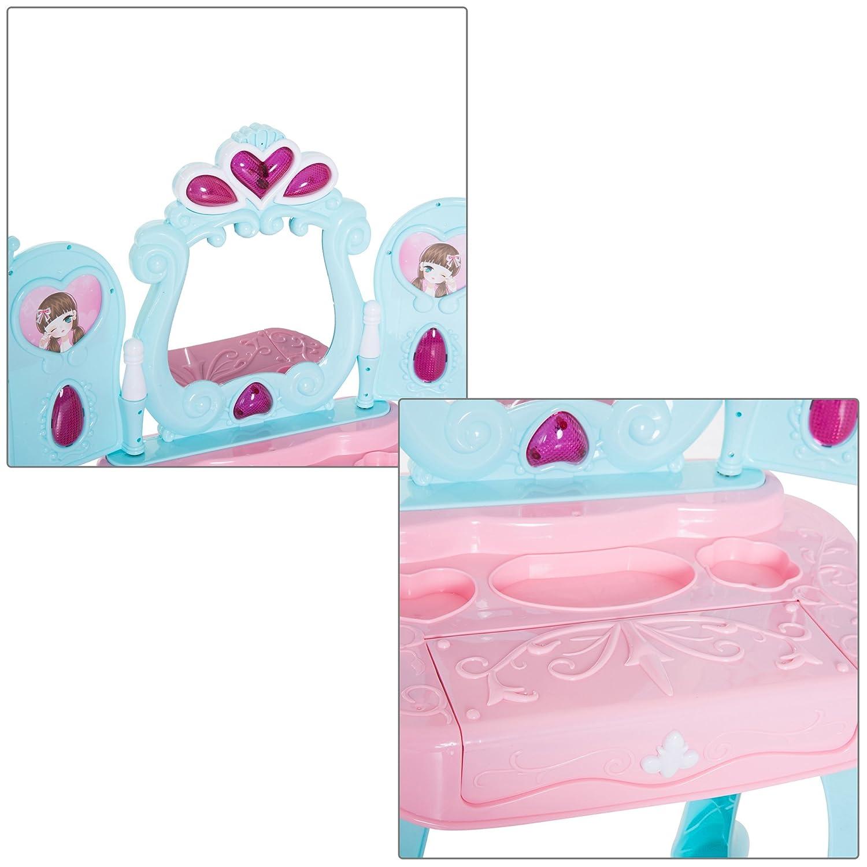 tiroir Séchoir 44L x 32l x 73H cm Plastique PP Bleu Rose 23 Homcom Coiffeuse Enfant Piano 2 en 1 Multi-equipement : Miroir Lumière Musique Cadres Photos