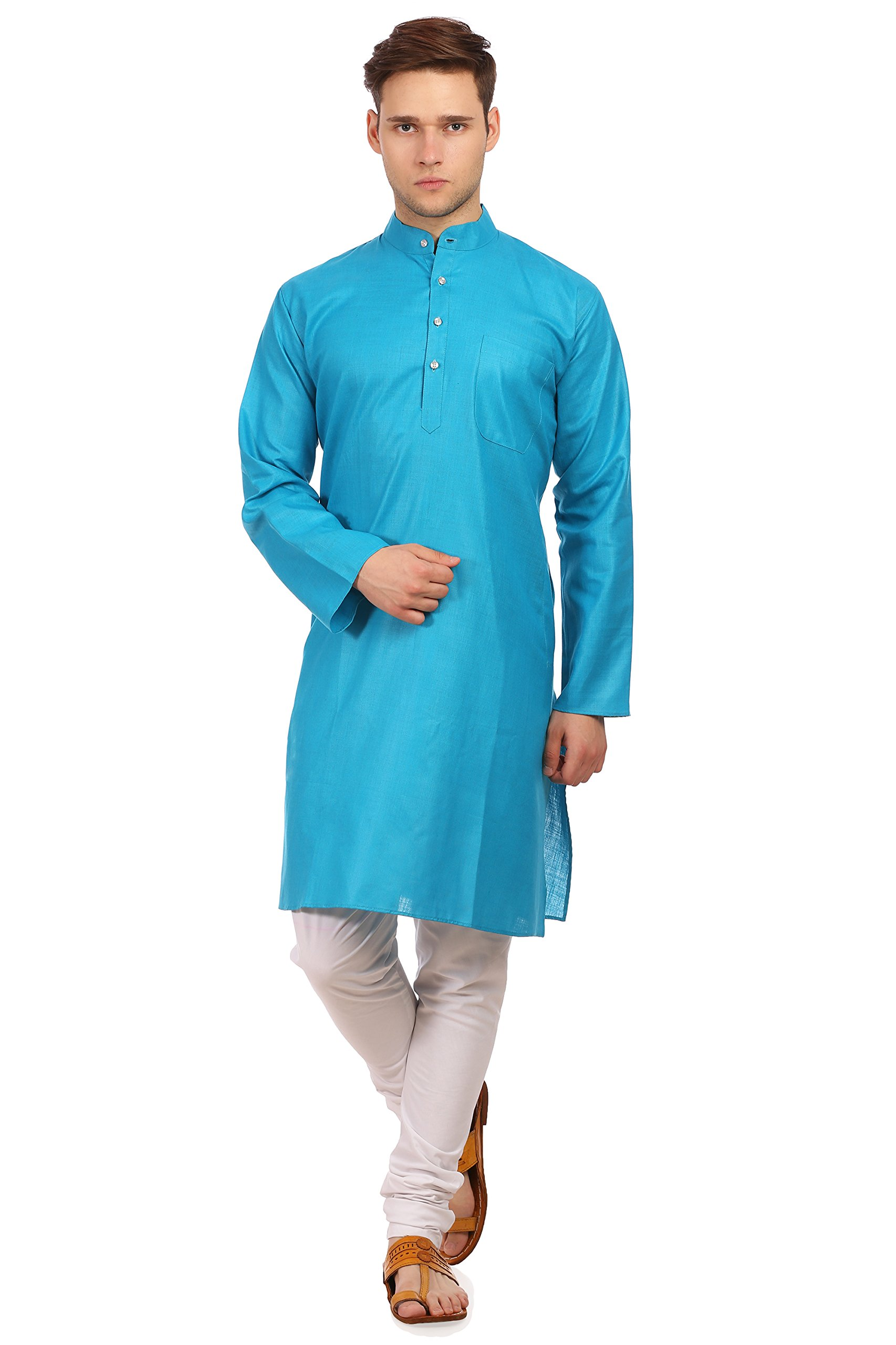 Wintage Men's Cotton Silk Festive and Casual Firozi Kurta Pyjama