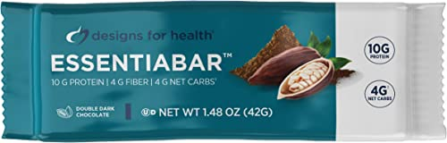 Designs for Health EssentiaBar – Double Dark Chocolate Whey Pumpkin Seed Protein Bars with 4 Net Carbs, 10g Protein with Prebiotic Fiber 18 Bars