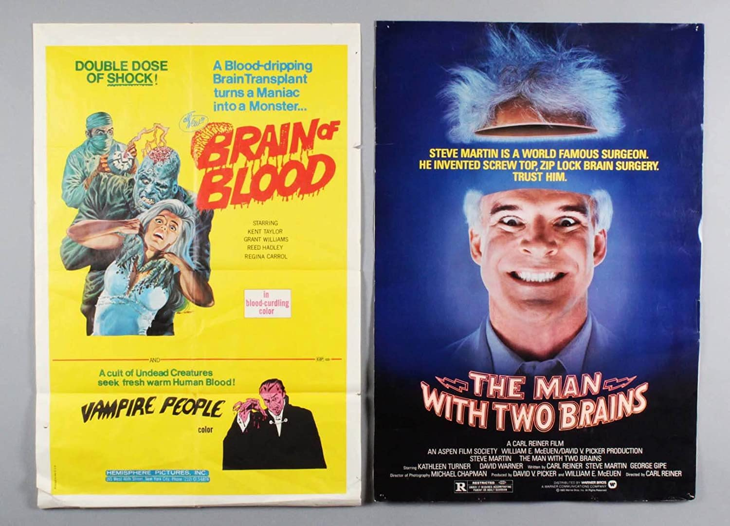 1972 BRAIN OF BLOOD Movie Poster & The Man With Two Brains