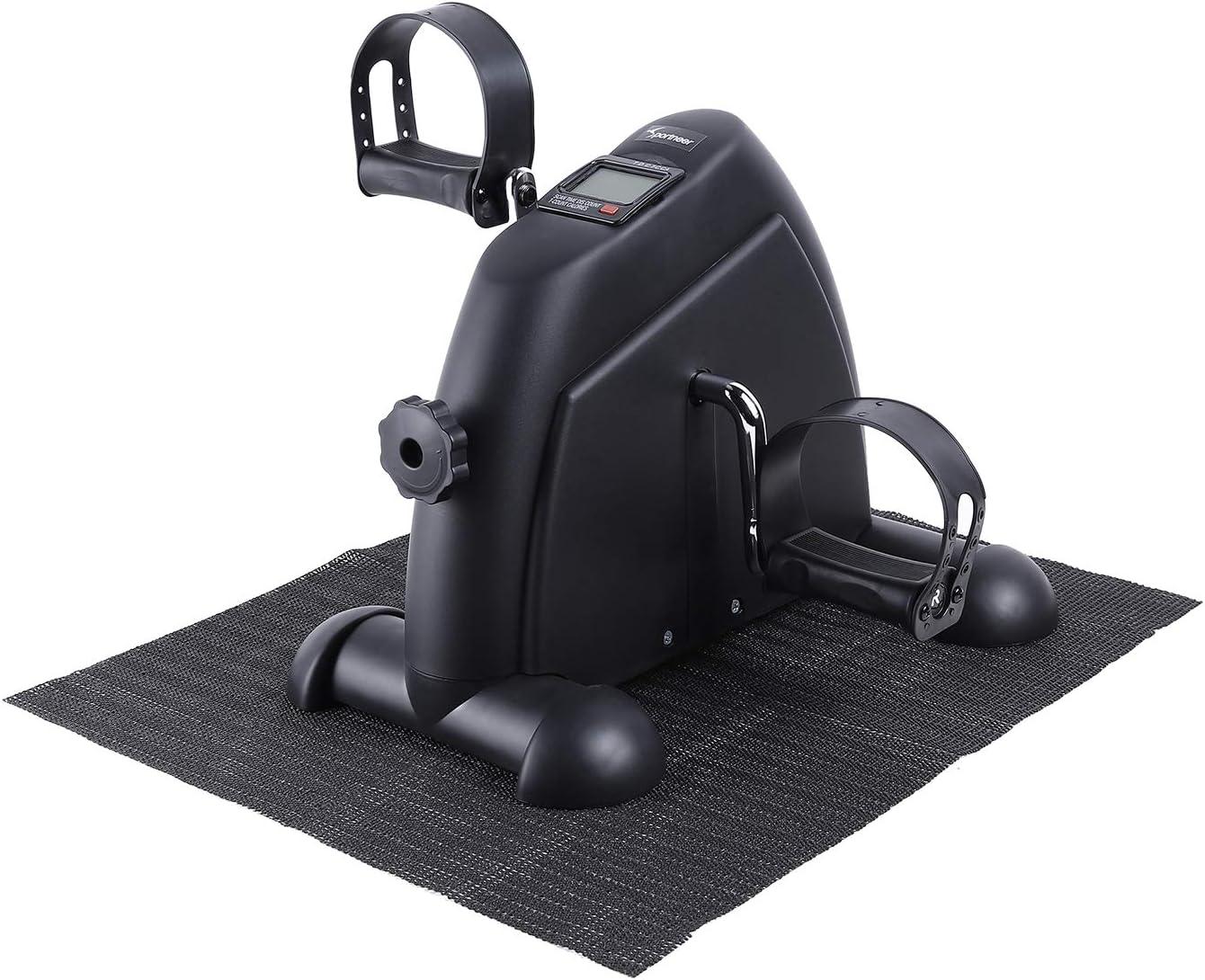 Sportneer Under Desk Bike Mini bicicleta de ejercicios de ciclo de pedal portátil con monitor digital y alfombra antideslizante, resistencia ajustable, Negro