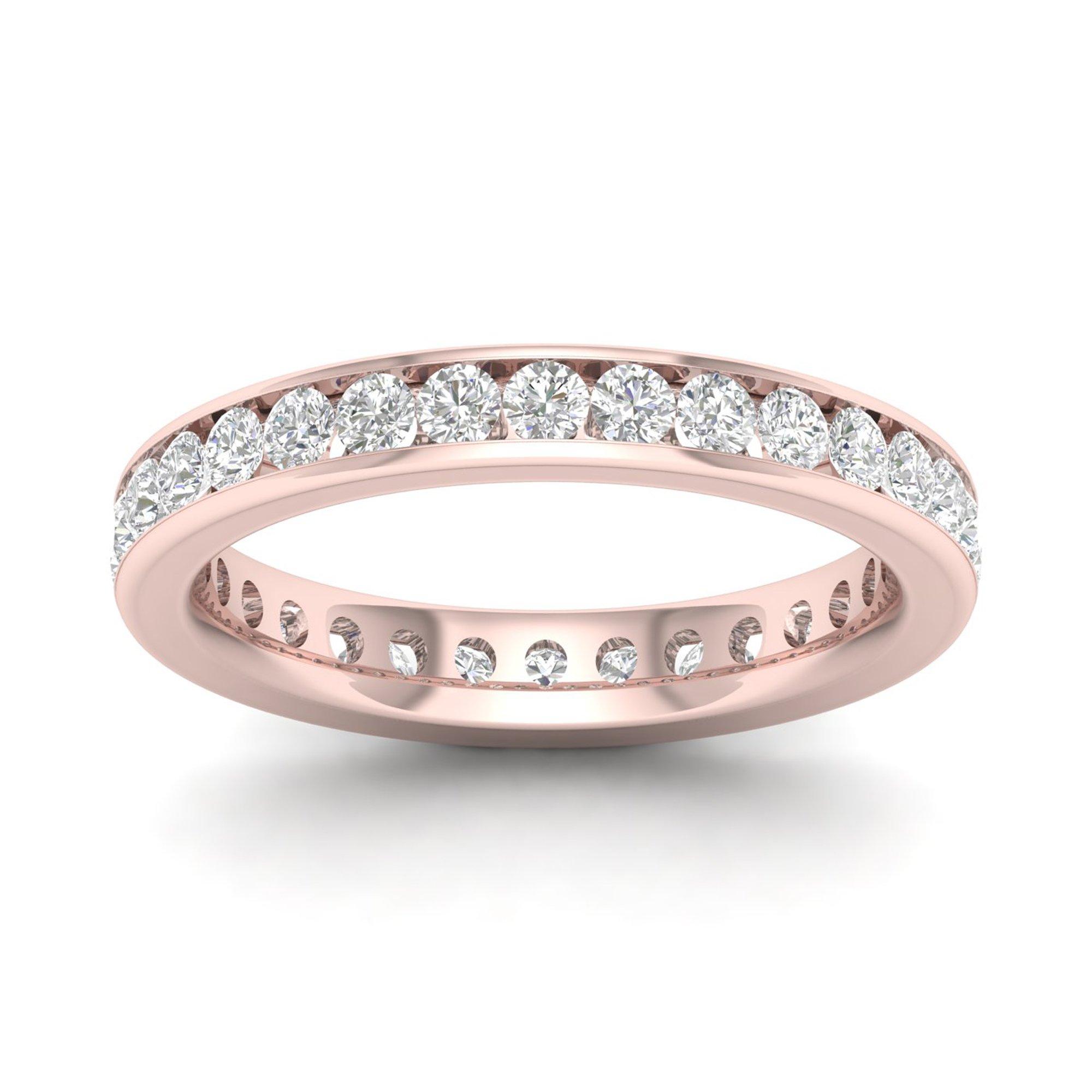 IGI Certified 14k Rose Gold 1 ct TDW Diamond Eternity Wedding Band (H-I, I2) by Diamond Hub
