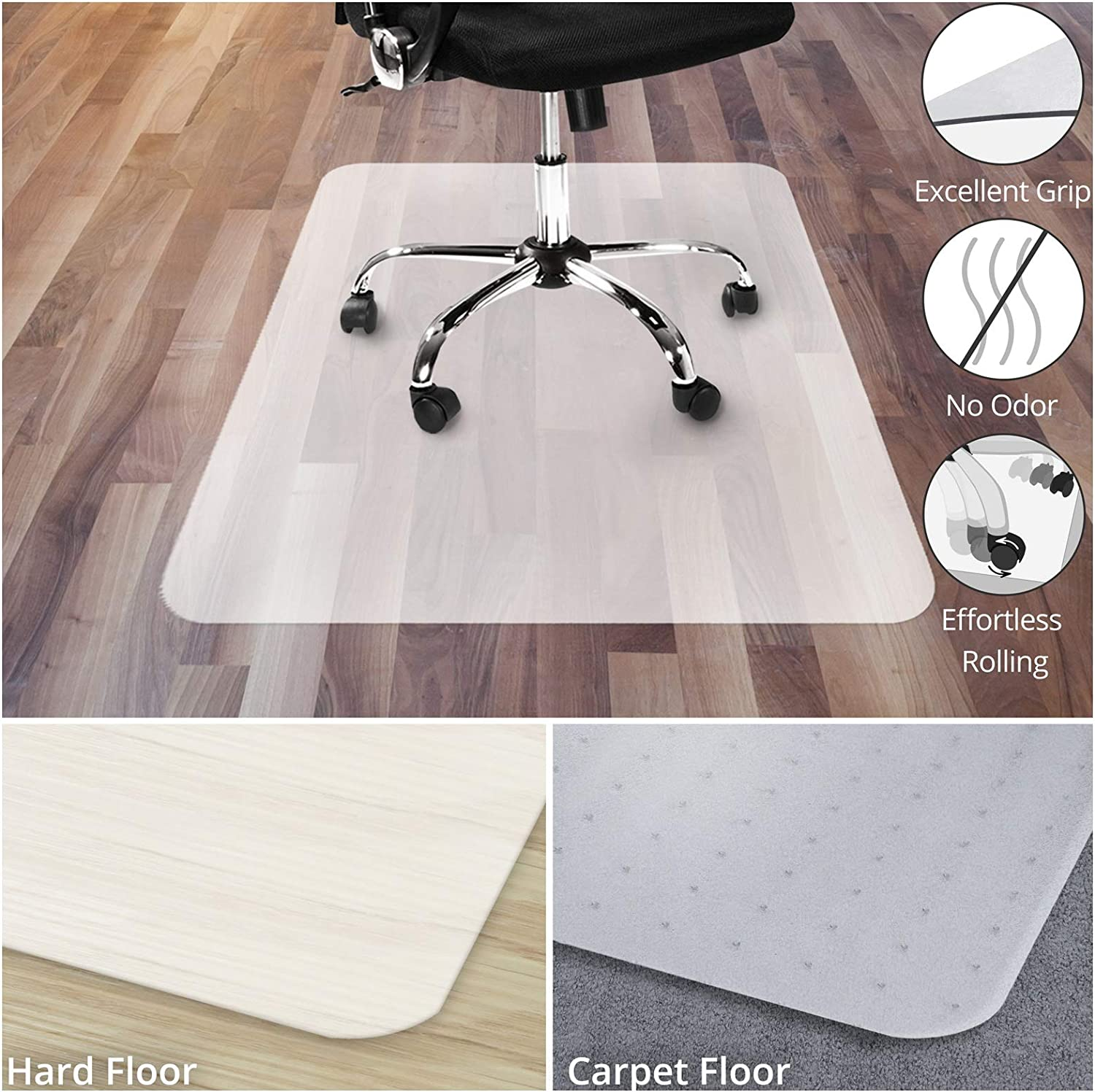 "Office Chair Mat for Hardwood Floor | Opaque Office Floor Mat | BPA, Phthalate and Odor Free | Multiple 40"" x 48"""