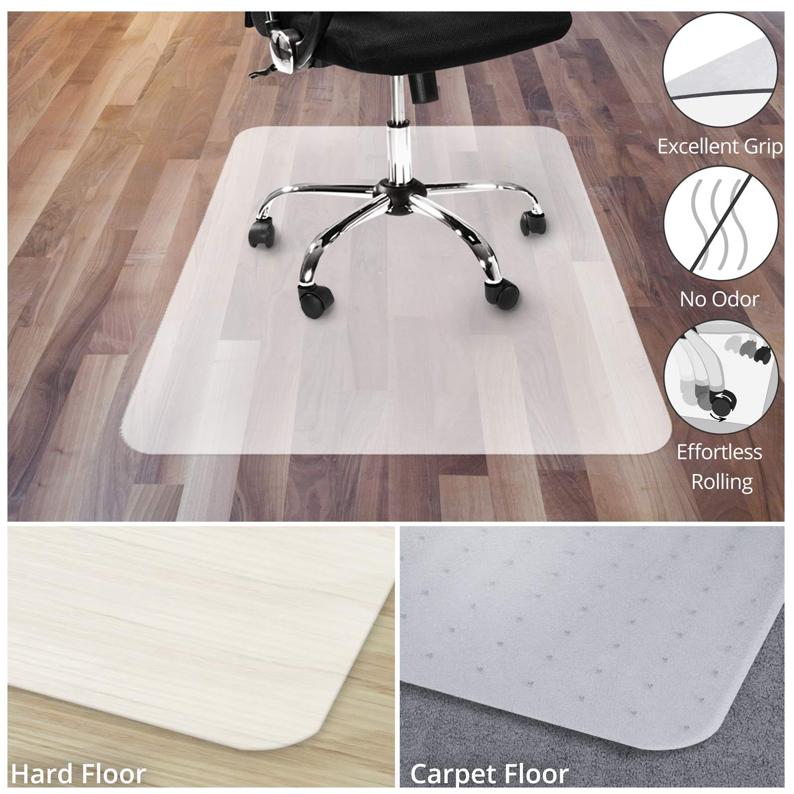 Office Chair Mat for Hardwood Floor | Opaque Office Floor Mat | BPA, Phthalate and Odor Free | Multiple Sizes Available- 30'' x 48'' by OfficeMarshal