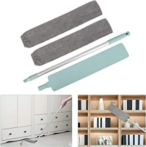Retractable Gap Dust Cleaning Artifact, Gap Dust Brush with 2 Cloth Cover, Good Grips Microfiber Hand Duster, Removable and Washable Telescopic Dust Collector for Home Bedroom Kitchen