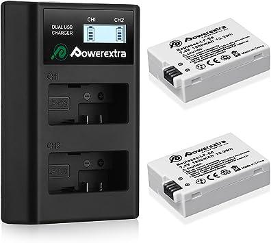 Powerextra 2 Baterías de Repuesto para Canon LP-E8 1800mAh Li-Ion con Cargador Pantalla LCD