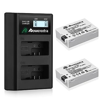 Powerextra 2 Baterías para Canon LP-E8 1800mAh Li-Ion con Cargador Pantalla LCD para Canon LP E8 Canon Rebel T3i T2i T4i T5i EOS 600D 550D 650D 700D ...