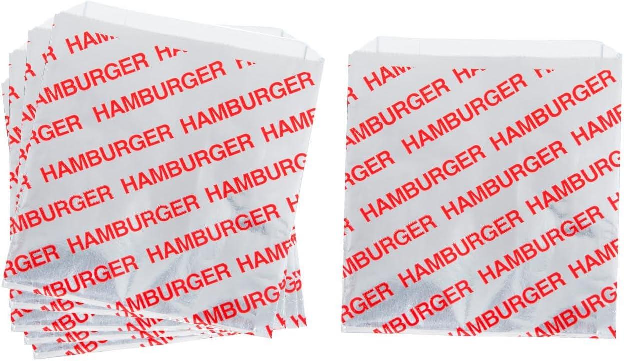 Printed Foil Hamburger Bags - 75 Pack - Silver, Red